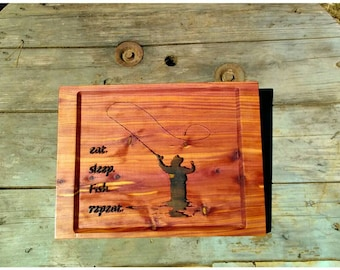 Cedar Fly Fishing CNC carved sign.