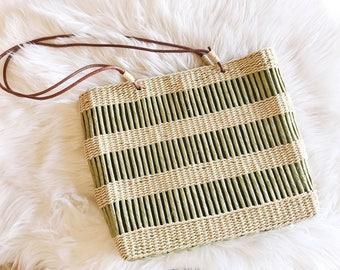 Vintage Green Purse / Woven Purse / Tote Purse / Summer Bag / Vintage Handbag