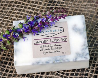 Free Shipping Lavender Lotion Bar, Shea Butter, Organic Lavender Buds, French lavender essential oil, Shea bar, moisturizing lotion