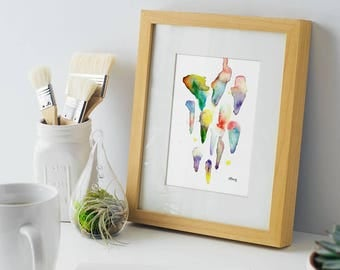 Abstract, Rainbow Drops, modern art, 5x7 print of original watercolor, gift, home decor