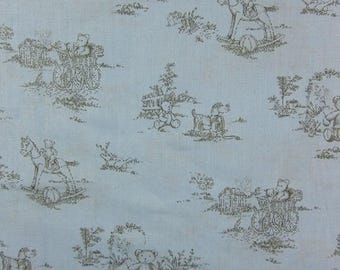 COTTON FABRIC PRINTED BLACK ON SKY BLUE BEAR