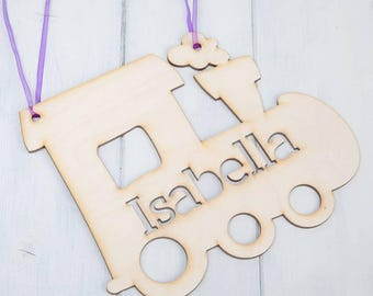 Personalised Wood Cut Out Train Hanging Sign