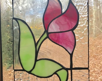 Stained glass pink tulip Suncatcher