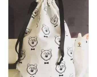 Bag storage pouch (pajamas, blanket and other treasures) lined with white cotton baby
