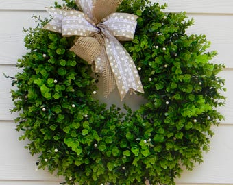 Boxwood wreath, Fall boxwood wreath, front door wreath, farmhouse boxwood wreath, burlap wreath, year round wreath, farmhouse decor