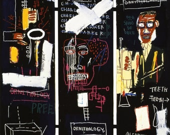 Horn Players, 1983 by JEAN MICHEL BASQUIAT  - Reprod On Paper Archival210m or Canvas hdprint, Museum Gallery Stretched