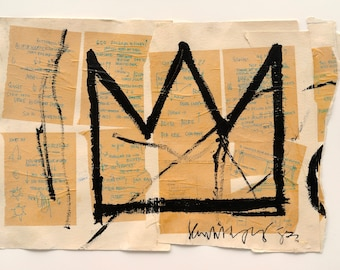 Crown 1982  by JEAN MICHEL BASQUIAT  - Reprod On Paper Archival210m or Canvas hdprint, Museum Gallery Stretched