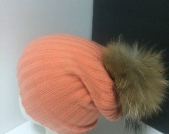 Cashmere Beanie - 100% Pure Cashmere, Orange Cashmere Hat with large Natural color Real Raccoon fur pom pom.