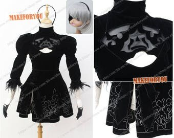 Women YoRHa No.2 Type B Cosplay Costume dress with eyepatch