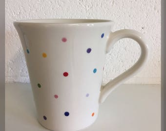Ceramic Hand Painted Multicoloured Dotty/Spotty Kiln Fired Mug 16oz