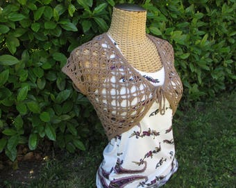 Bolero handmade crochet 100% cotton Brown
