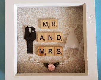 Mr & Mrs Wedding Gift Frame wedding dress and tuxedo
