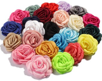 6cm 24colors Fashion Burned Edge Hair Flowers for Hair Clips/Hairpins Vintage Fabric Flowers For Baby Hair Accessories