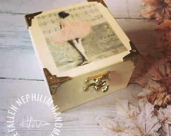Ballerina Girl Wooden Box with Pink Tutu and little gold tone clasp. Gift Box Christmas Gift for her - Jewellery Case
