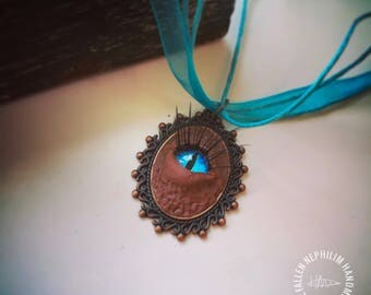 Brown Eye Oddity Pendant & Chain ,Macabre Oddities, Faux Fur Glass Eye Original Polymer Clay Sculpture, Miniature Fur Sculpted Animal