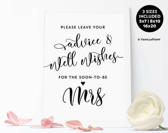 Soon To Be Mrs Sign, Printable Bridal Shower Advice Sign, Advice For The Bride Sign, Wishes For The Bride, Bridal Shower Decorations Rustic