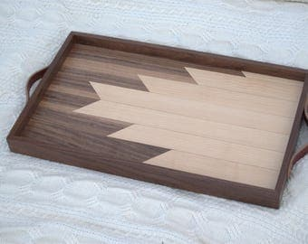 "Decorative Wood Serving Tray / Made in Washington / Art Deco / Breakfast Tray / Walnut and Maple / Leather Handles / Geometric / 26"" x 14.5"""
