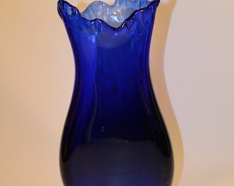 Cobalt Blue Hand Blown Glass Vase