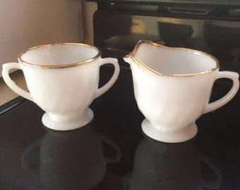 Fire King creamer and sugar, shabby chic