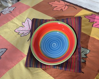 Bowl Lifters (set of two) - Keep Those Hands From Getting Burnt by Microwaved Food! Brown burgundy stripe