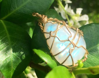 Rainbow Moonstone Wire Wrap Necklace