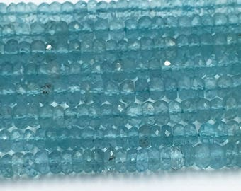 """Apatite Faceted Roundel / Button 3.5 - 4.0 mm, One full 13"""" strand, Natural Apatite"""