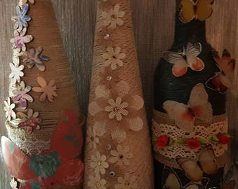 Shabby Chic Vintage Bottle - With Jute Flowers with Gems, Butterfly with wooden flowers or Butterfly and silk roses