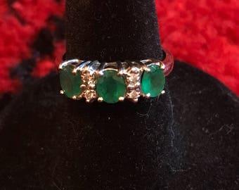 Three stone emerald ring with small diamonds 14k white gold sz 6.5