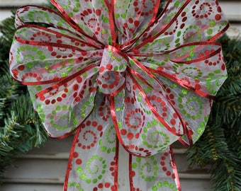 Christmas Swirls Bow, Christmas Bow, Wreath Bow, Basket Bow, Christmas Tree Bow, Swag Bow, Gift Bow, Lantern Bow, Railing Bow