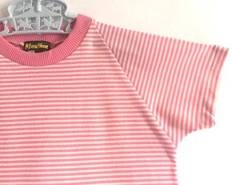 Fifi T shirt: 1970s vintage kids pink stripe T shirt