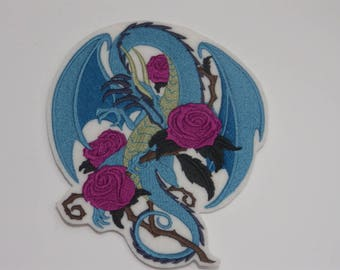 Fantasy Iron-On Patch. Embroidered Patch. Sew-on Patch. Glue-on Patch. Rose Dragon Patch