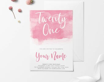 Pink Printable Birthday Invitation, Custom Printable Invitation, 30th Birthday, 21st Birthday, 18th Birthday, DIY Birthday Invitation