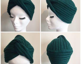 Made to order DIVA TURBAN Vintage Inspired handknitted Turban 100% Virgin Wool (Merino)
