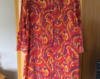 Vintage Kaftan Type Dress 1970s 40""