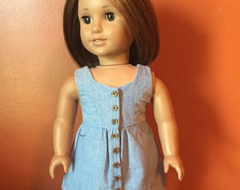 Chambray Button Front Dress made to fit 18 inch dolls such as American Girl Dolls