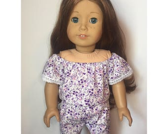 Purple Floral Romper made to fit 18 inch dolls such as American Girl dolls