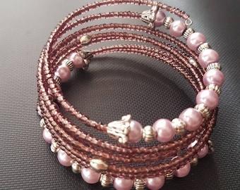 Beaded Bracelet Pearl Seed Beads Purple Gift Birthday Friendship