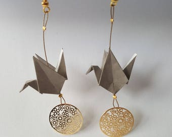 Light grey cranes origami earrings