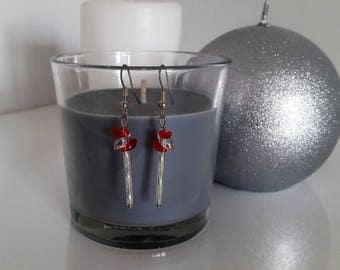 Red and silver Pearl Earrings