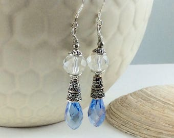 Brilliant Blue Czech Crystal Drop/Dangle Earrings with .925 Silver Wires
