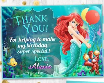 Little mermaid Ariel Thank you card