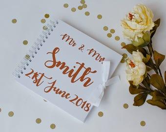Metallic Rose Gold Personalised Wedding guest book, wedding memory book, Wedding photo album