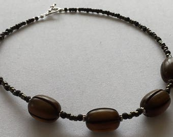 Brown beaded choker necklace