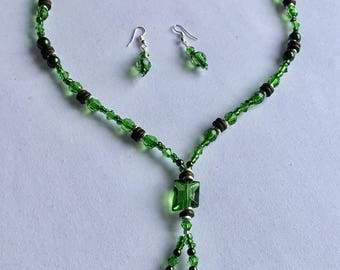 Bright green beaded necklace and earring set