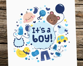 Cute Baby Boy Card - New Baby - Congratulations - It's a boy - Baby Shower Card - Funny Baby Card