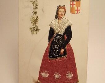 Vintage Postcard from Barcelona Spain Embroidered Tarjeta Postal Spanish Woman Cataluna