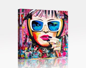Chic Funky Girl Art Canvas Print