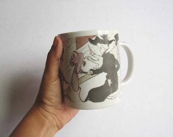 Vintage CHALEUR MASTERS COLLECTION D. Burrows 14 oz Cup Mug - Toulouse Lautrec Mug - Moulin Rouge Chaleur –Vintage mug–ceramic mug