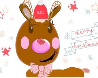 Santa Claus Merry Christmas Reindeer illustration