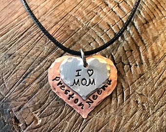 Double Heart Stack Handstamped I love Mom Necklace